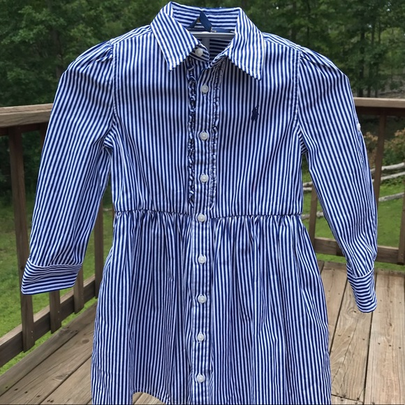 Ralph Polo Shirtdress Sz3 Lauren Striped Cotton WDIE2YbHe9